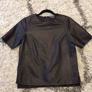 VINCE women's LIGHTWEIGHT  leather top- like new!